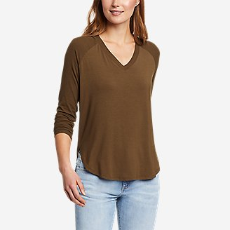 Women's Soft Layer Long-Sleeve Mixed-Rib V-Neck T-Shirt in Green