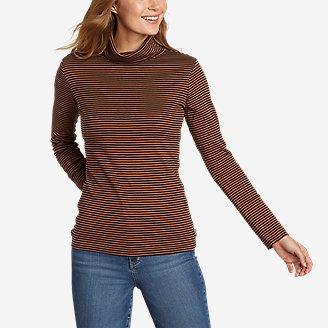 Women's Favorite Long-Sleeve Turtleneck - Stripe in Brown