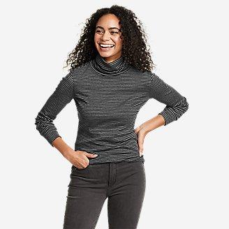 Women's Favorite Long-Sleeve Turtleneck - Stripe in Gray