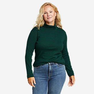 Women's Favorite Long-Sleeve Turtleneck - Stripe in Green