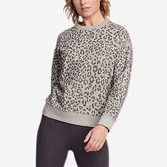 Women's Cozy Camp Long-Sleeve Crew - Flocked Print in Beige