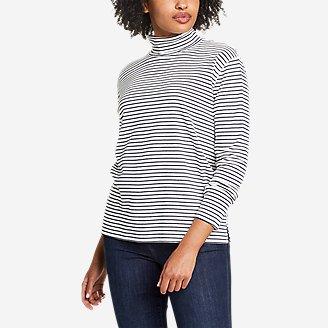 Women's Favorite Long-Sleeve Mock-Neck T-Shirt - Stripe in White