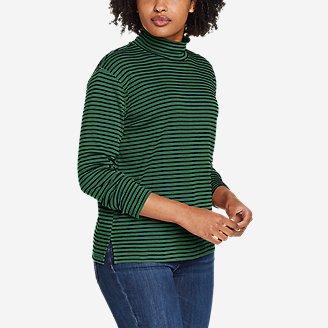Women's Favorite Long-Sleeve Mock-Neck T-Shirt - Stripe in Green