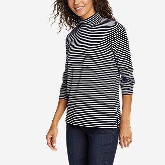 Women's Favorite Long-Sleeve Mock-Neck T-Shirt - Stripe in Blue