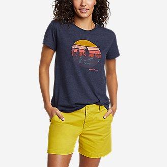 Women's Graphic T-Shirt - Outdoor Mountain Scene in Blue