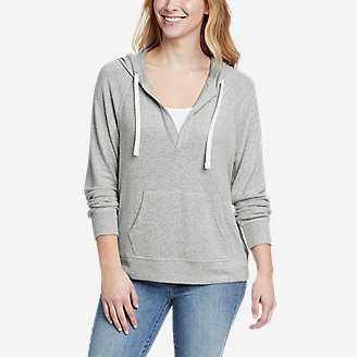 Women's Brushed Jersey V-Neck Hoodie in Gray