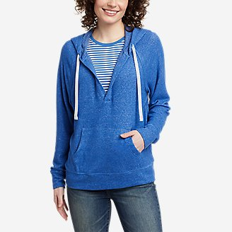 Women's Brushed Jersey V-Neck Hoodie in Blue