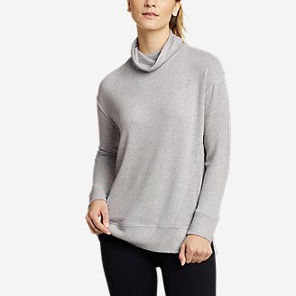 Women's Mixed-Stitch Long-Sleeve Funnel-Neck in Gray