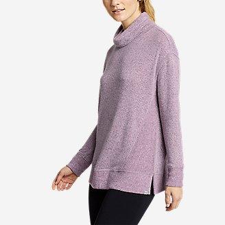 Women's Mixed-Stitch Long-Sleeve Funnel-Neck in Purple