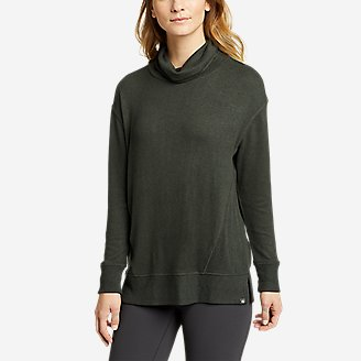 Women's Mixed-Stitch Long-Sleeve Funnel-Neck in Green