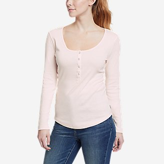 Women's Favorite Long-Sleeve Henley T-Shirt in White
