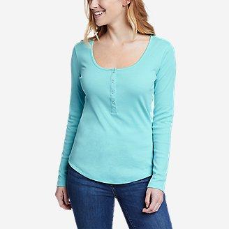 Women's Favorite Long-Sleeve Henley T-Shirt in Blue