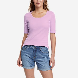 Women's Favorite Elbow-Sleeve T-Shirt in Purple