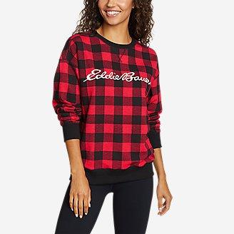 Women's Cozy Camp Buffalo Check Sweatshirt in Red