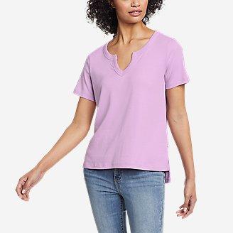 Women's Favorite Short-Sleeve Notch-Neck T-Shirt in Purple
