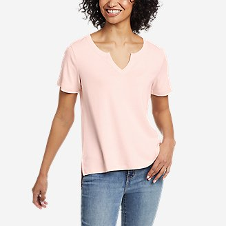 Women's Favorite Short-Sleeve Notch-Neck T-Shirt in White
