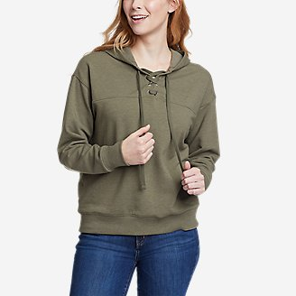 Women's Cozy Camp Front Lace-Up Sweatshirt in Green