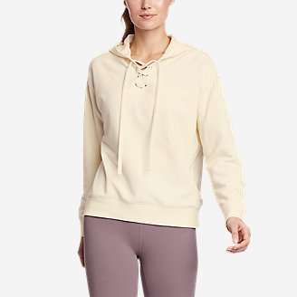Women's Cozy Camp Front Lace-Up Sweatshirt in White