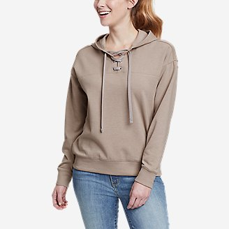 Women's Cozy Camp Front Lace-Up Sweatshirt in Gray