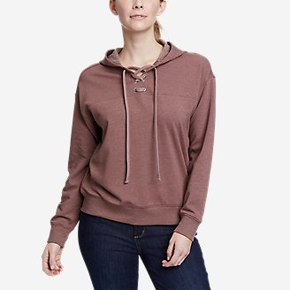 Women's Cozy Camp Front Lace-Up Sweatshirt in Pink