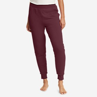 Women's Snow Lodge Faux Shearling-Lined Jogger Pants in Red