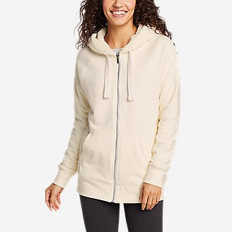 Women's Snow Lodge Sherpa-Lined Full-Zip Sweatshirt in White