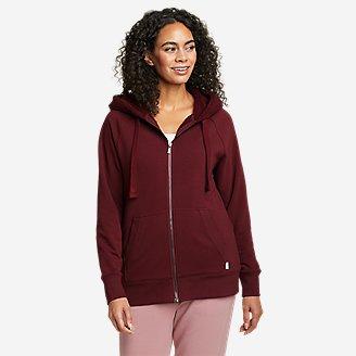 Women's Snow Lodge Faux Shearling-Lined Full-Zip Sweatshirt in Red