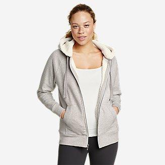 Women's Snow Lodge Faux Shearling-Lined Full-Zip Sweatshirt in Gray