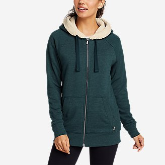 Women's Snow Lodge Sherpa-Lined Full-Zip Sweatshirt in Green