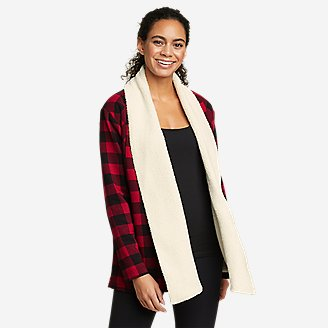 Women's Snow Lodge Faux Shearling-Lined Wrap - Buffalo Check in Red