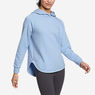 Women's Cozy Camp Shirttail Hem Hoodie in Blue