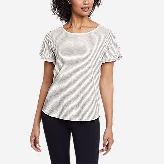 Women's Sunwashed Striped Ruffle-Sleeve T-Shirt in White