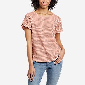 Women's Sunwashed Striped Ruffle-Sleeve T-Shirt in Orange