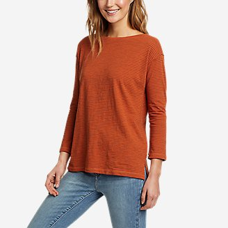 Women's Sunwashed Striped Boat-Neck T-Shirt in Orange