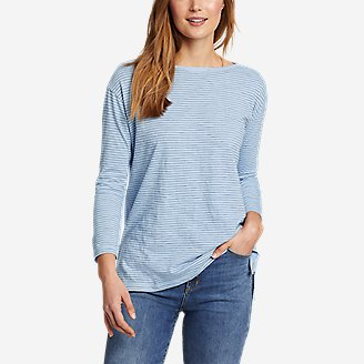 Women's Sunwashed Striped Boat-Neck T-Shirt in Blue