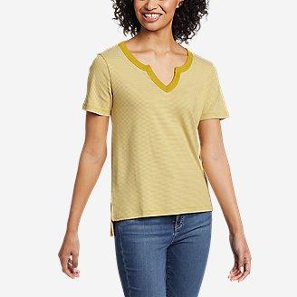 Women's Favorite Short-Sleeve Notch-Neck T-Shirt - Stripe in Green