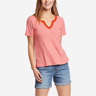 Women's Favorite Short-Sleeve Notch-Neck T-Shirt - Stripe in Red
