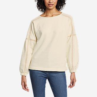 Women's Cozy Camp Crochet Sweatshirt in White