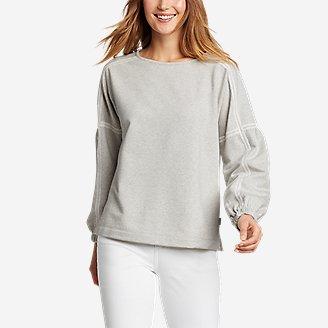 Women's Cozy Camp Crochet Sweatshirt in Gray