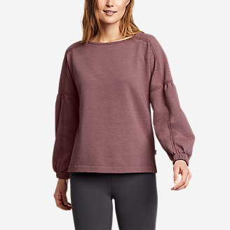 Women's Cozy Camp Crochet Sweatshirt in Pink