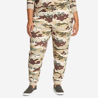 Women's Cozy Camp Fleece Jogger Pants - Print in Beige