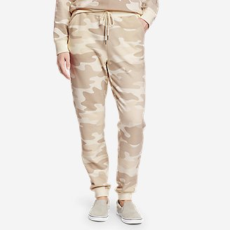 Women's Cozy Camp Fleece Jogger Pants - Print in Beige