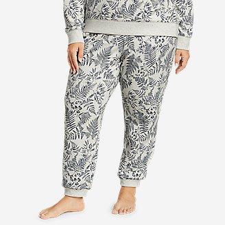 Women's Cozy Camp Fleece Jogger Pants - Print in Gray