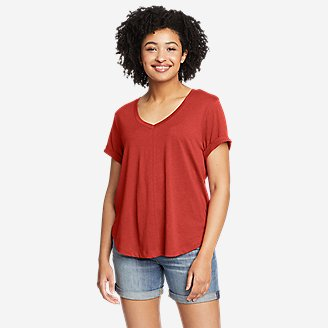 Women's Gate Check Short-Sleeve T-Shirt in Red