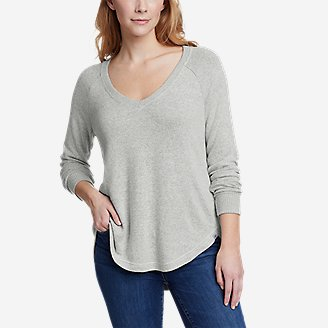 Women's Brushed Jersey V-Neck Top in Gray