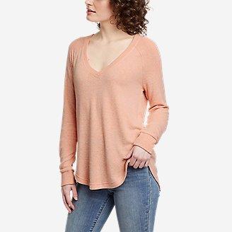 Women's Brushed Jersey V-Neck Top in Orange