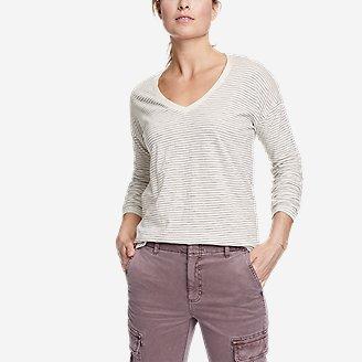 Women's Sunwashed Striped V-Neck T-Shirt in White