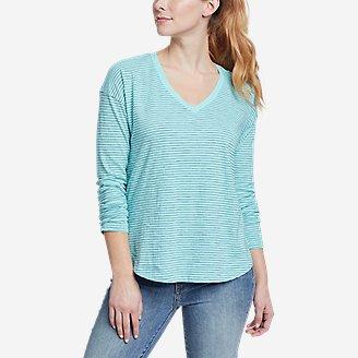 Women's Sunwashed Striped V-Neck T-Shirt in Blue