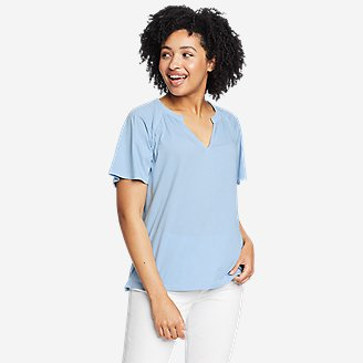 Women's Ophelia Short-Sleeve Lace T-Shirt in Blue