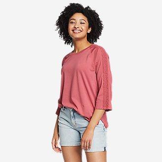 Women's Ophelia 3/4-Sleeve Crochet T-Shirt in Red